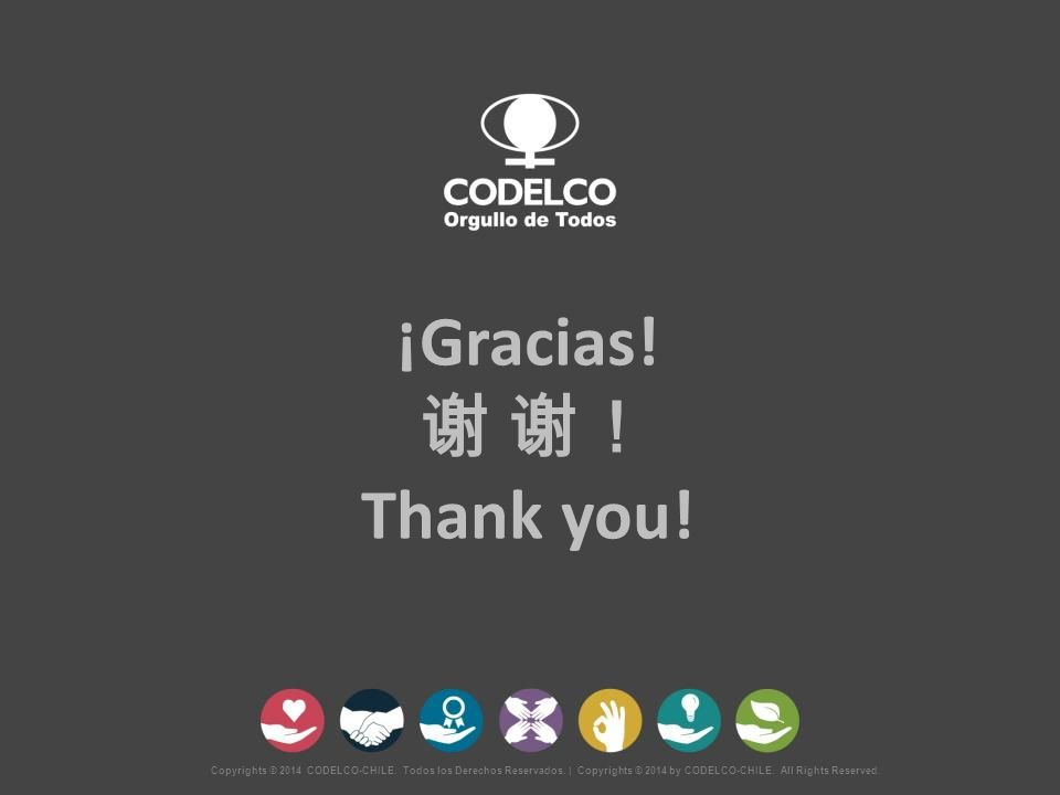 Copyrights © 2014 CODELCO-CHILE. Todos los Derechos Reservados. | Copyrights © 2014 by CODELCO-CHILE. All Rights Reserved. ¡Gracias! 谢 谢! Thank you!