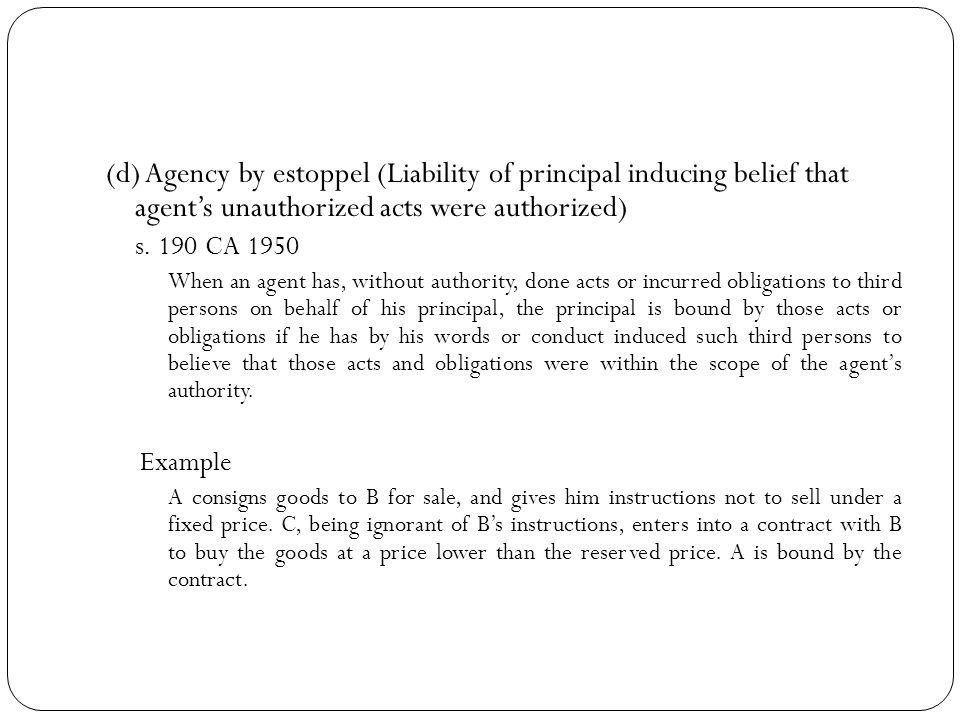 Duties of principal and agent S 164 – 178 CA 1950 1.