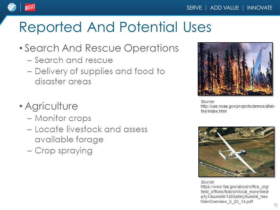 Reported And Potential Uses Search And Rescue Operations – Search and rescue – Delivery of supplies and food to disaster areas Agriculture – Monitor c