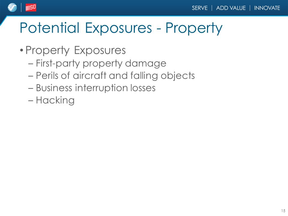 Potential Exposures - Property Property Exposures – First-party property damage – Perils of aircraft and falling objects – Business interruption losse