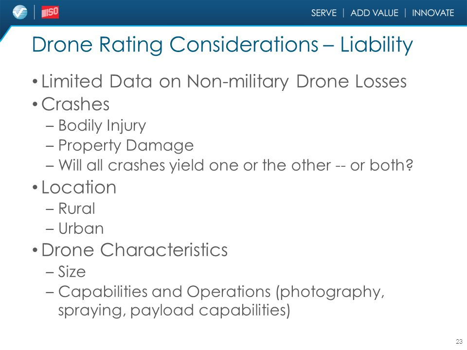 Drone Rating Considerations – Liability Limited Data on Non-military Drone Losses Crashes – Bodily Injury – Property Damage – Will all crashes yield o