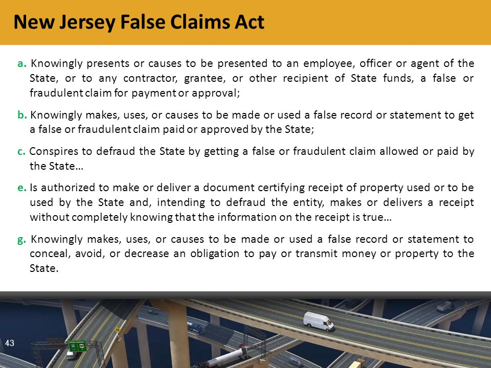 43 New Jersey False Claims Act a.