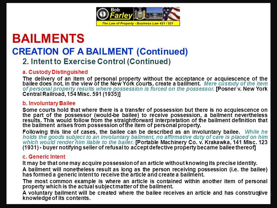 BAILMENTS REIMBURSEMENT AND COMPENSATION 1.