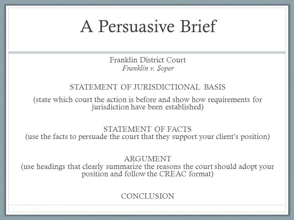 A Persuasive Brief Franklin District Court Franklin v.