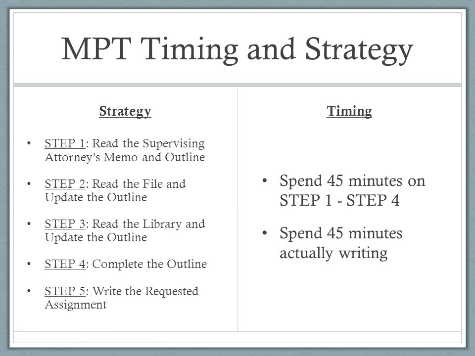 Sample MPT Question 90 minutes allotted
