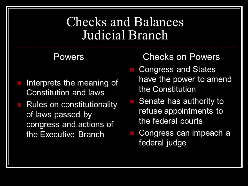 Checks and Balances Judicial Branch Powers Interprets the meaning of Constitution and laws Rules on constitutionality of laws passed by congress and actions of the Executive Branch Checks on Powers Congress and States have the power to amend the Constitution Senate has authority to refuse appointments to the federal courts Congress can impeach a federal judge