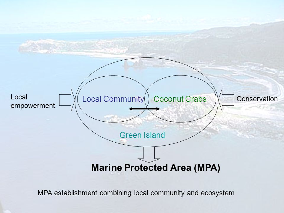 Marine Protected Area (MPA) MPA establishment combining local community and ecosystem Local Community Coconut Crabs Green Island Local empowerment Conservation