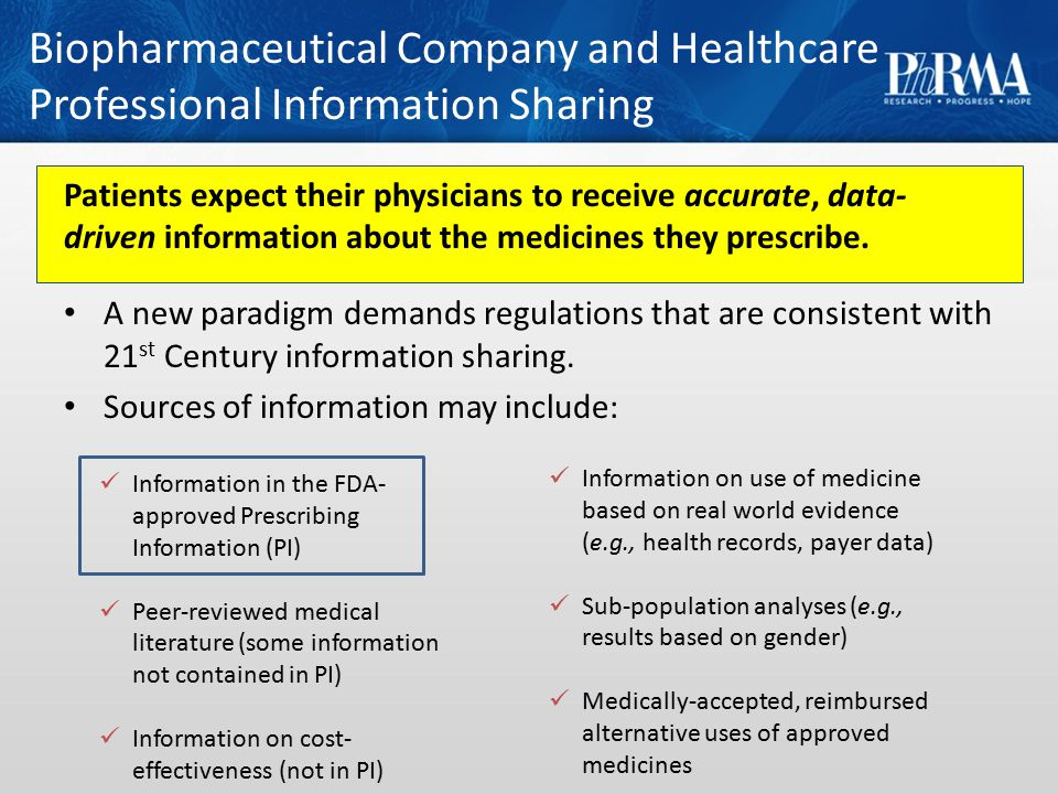 Biopharmaceutical Company and Healthcare Professional Information Sharing Patients expect their physicians to receive accurate, data- driven information about the medicines they prescribe.