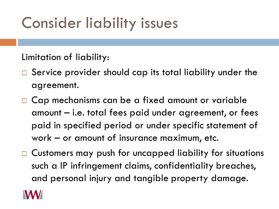 Consider liability issues Limitation of liability:  Service provider should cap its total liability under the agreement.