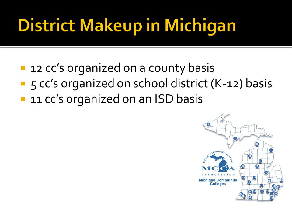 12 cc's organized on a county basis  5 cc's organized on school district (K-12) basis  11 cc's organized on an ISD basis
