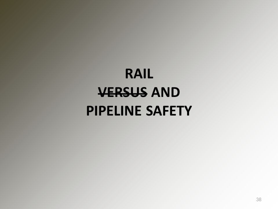 RAIL VERSUS AND PIPELINE SAFETY 38