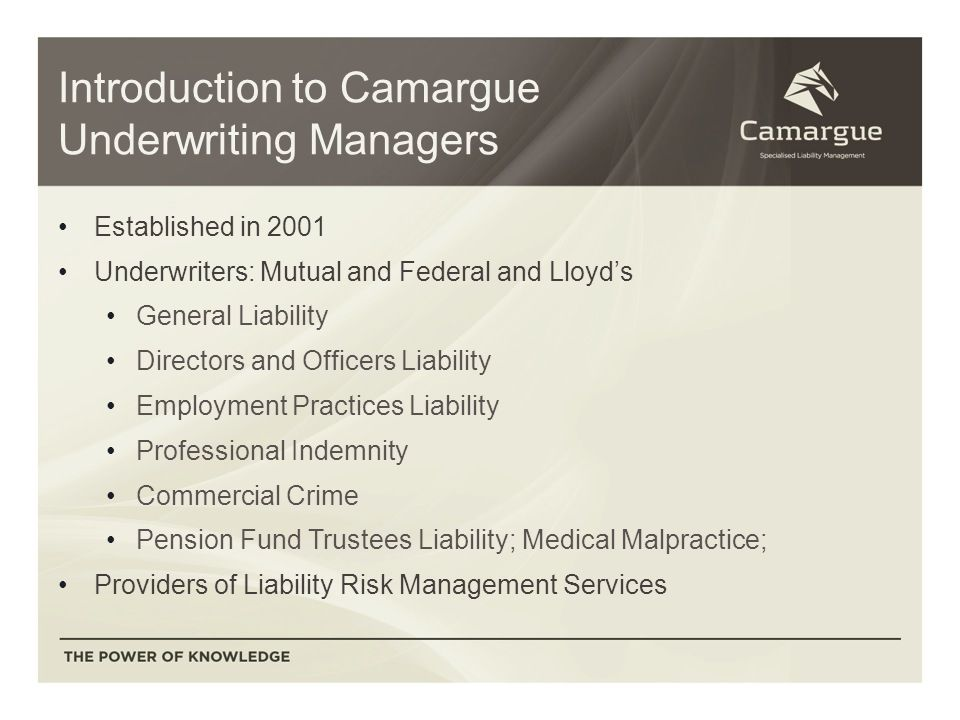 Introduction to Camargue Underwriting Managers Established in 2001 Underwriters: Mutual and Federal and Lloyd's General Liability Directors and Officers Liability Employment Practices Liability Professional Indemnity Commercial Crime Pension Fund Trustees Liability; Medical Malpractice; Providers of Liability Risk Management Services