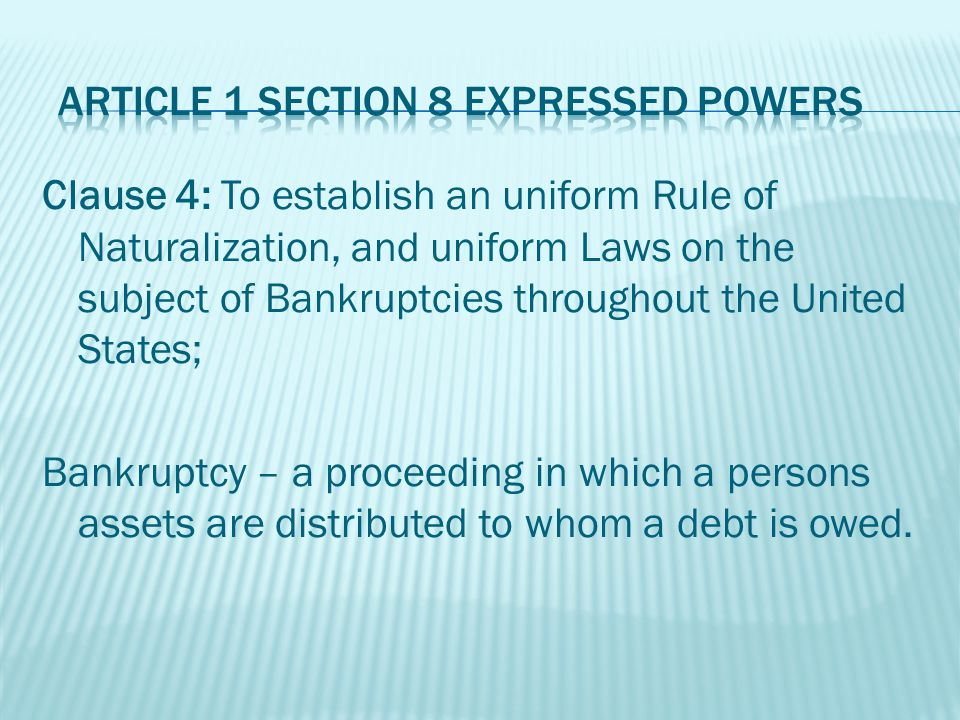 Clause 5: To coin Money, regulate the Value thereof, and of foreign Coin, and fix the Standard of Weights and Measures; Examples: Time, Distance, Weight, Volume, Area
