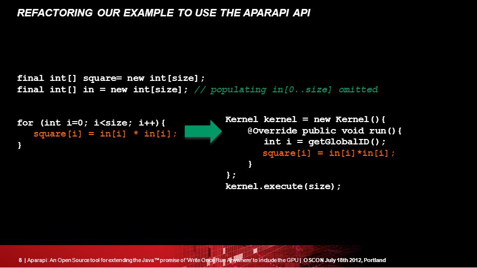 8| Aparapi: An Open Source tool for extending the Java™ promise of 'Write Once Run Anywhere' to include the GPU | OSCON July 18th 2012, Portland REFACTORING OUR EXAMPLE TO USE THE APARAPI API final int[] square= new int[size]; final int[] in = new int[size]; // populating in[0..size] omitted for (int i=0; i<size; i++){ square[i] = in[i] * in[i]; } Kernel kernel = new Kernel(){ @Override public void run(){ int i = getGlobalID(); square[i] = in[i]*in[i]; } }; kernel.execute(size););