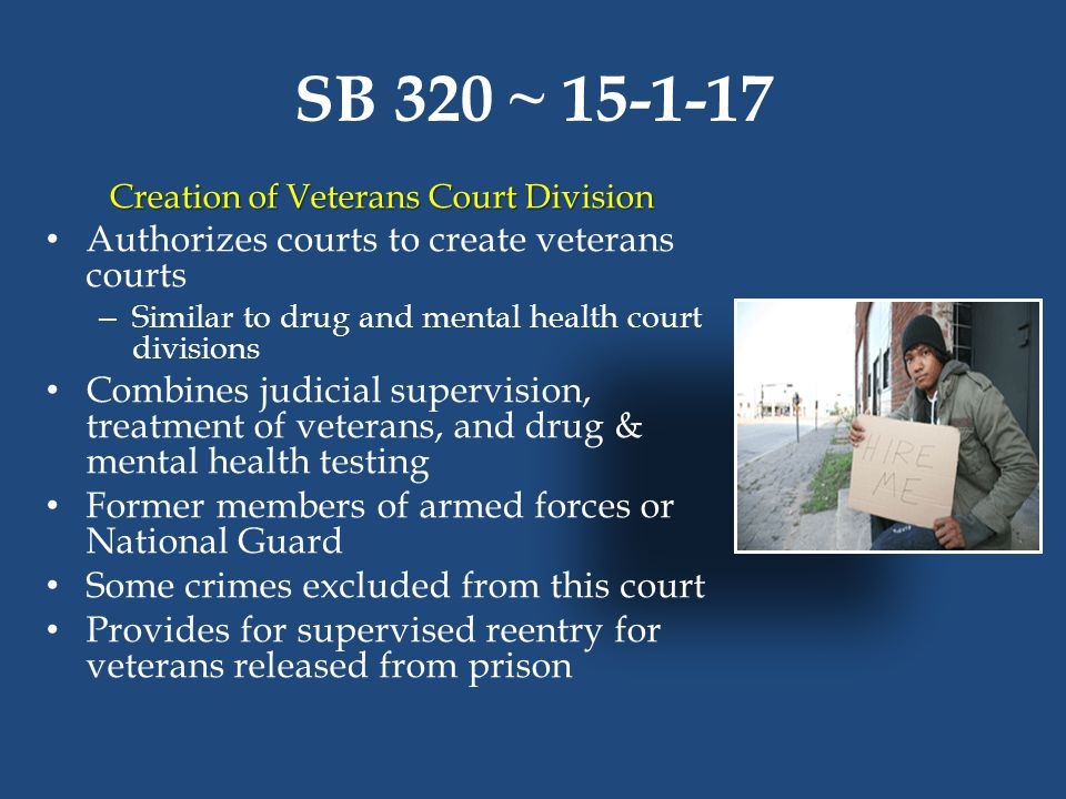 SB 320 ~ 15-1-17 Creation of Veterans Court Division Authorizes courts to create veterans courts – Similar to drug and mental health court divisions C