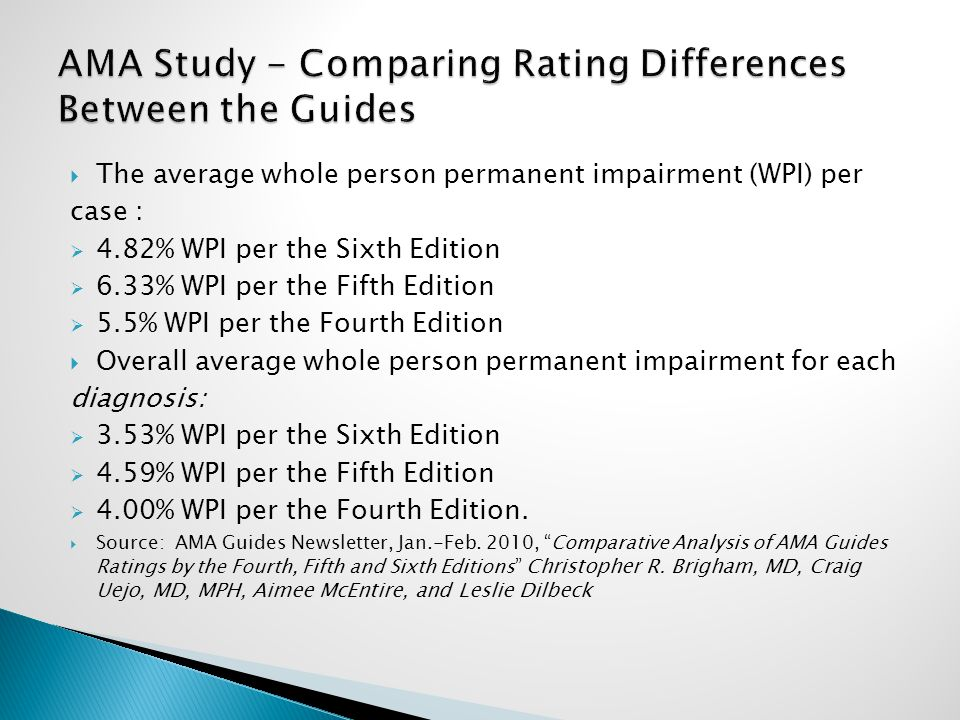 The average whole person permanent impairment (WPI) per case :  4.82% WPI per the Sixth Edition  6.33% WPI per the Fifth Edition  5.5% WPI per the Fourth Edition  Overall average whole person permanent impairment for each diagnosis:  3.53% WPI per the Sixth Edition  4.59% WPI per the Fifth Edition  4.00% WPI per the Fourth Edition.