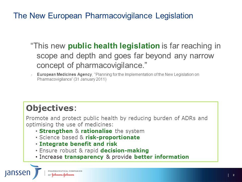 "The New European Pharmacovigilance Legislation ""This new public health legislation is far reaching in scope and depth and goes far beyond any narrow c"