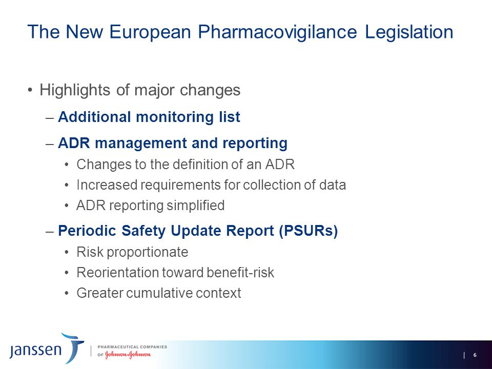 The New European Pharmacovigilance Legislation Highlights of major changes –Additional monitoring list –ADR management and reporting Changes to the de