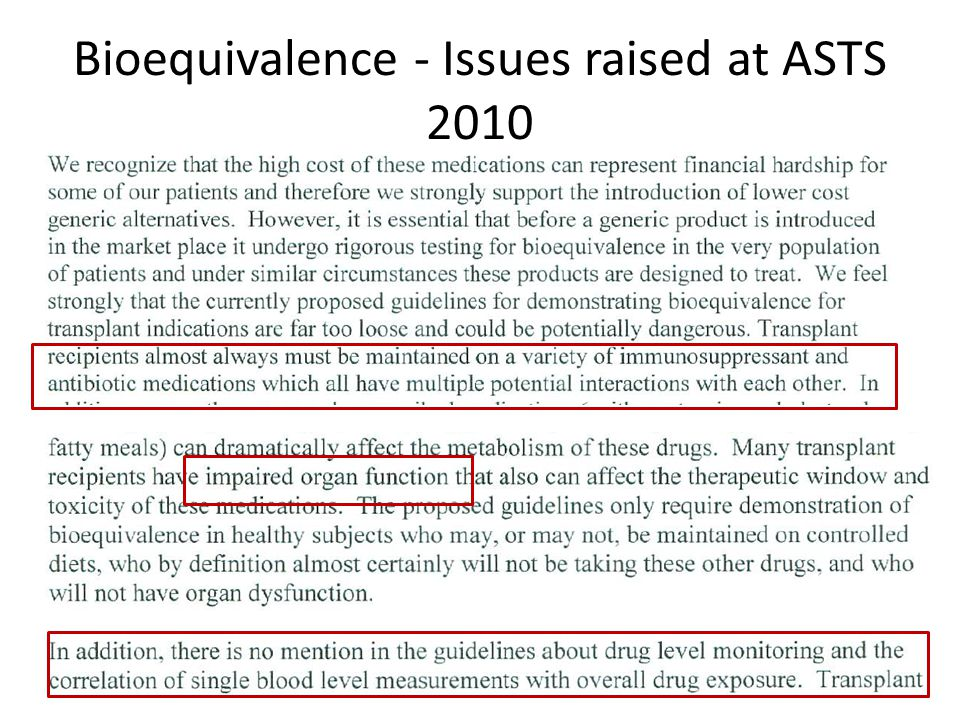 Bioequivalence - Issues raised at ASTS 2010