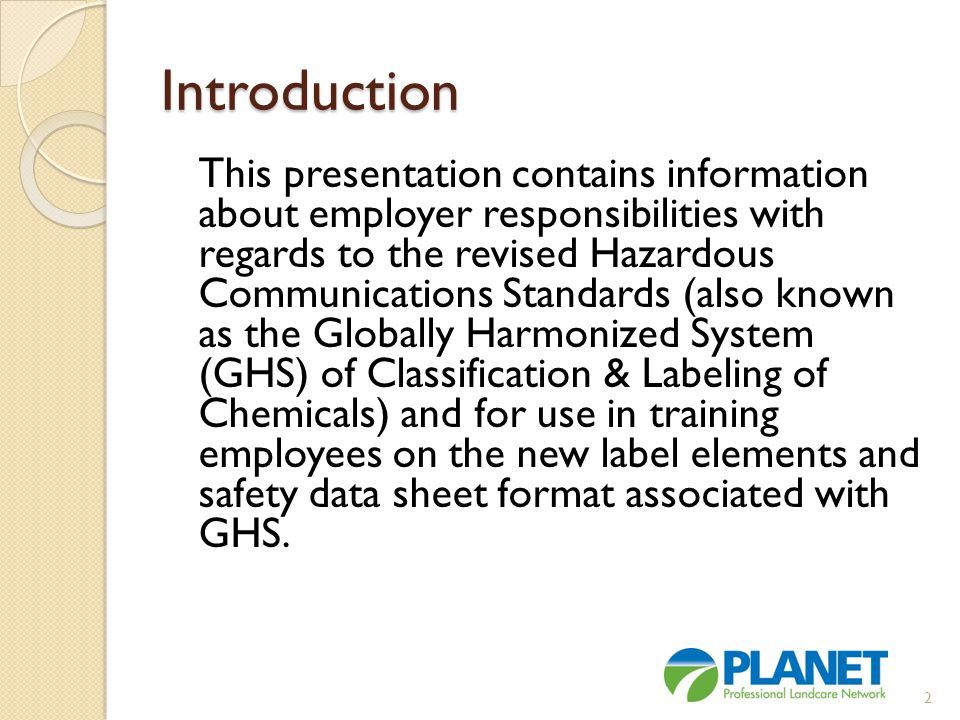 Assessment and Evaluation 1.Answer a: Globally Harmonized System 2.