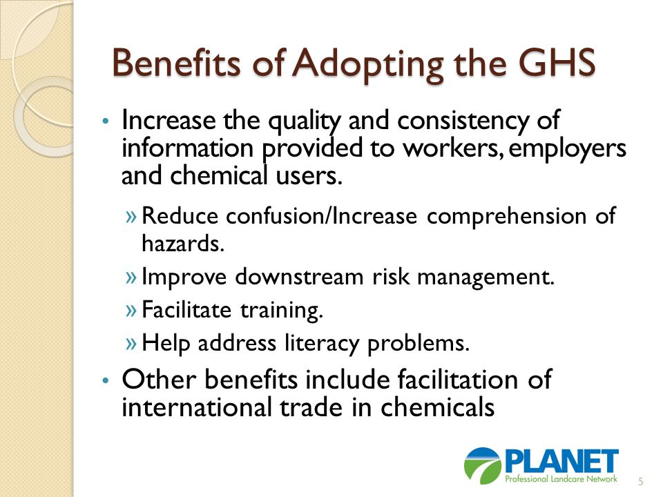 Note: OSHA is moving forward to change the MSDS and all chemical labels to comply with GHS; however, the EPA will not require any changes to pesticide labels.