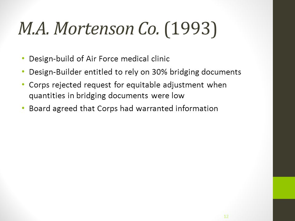 M.A. Mortenson Co. (1993) Design-build of Air Force medical clinic Design-Builder entitled to rely on 30% bridging documents Corps rejected request fo