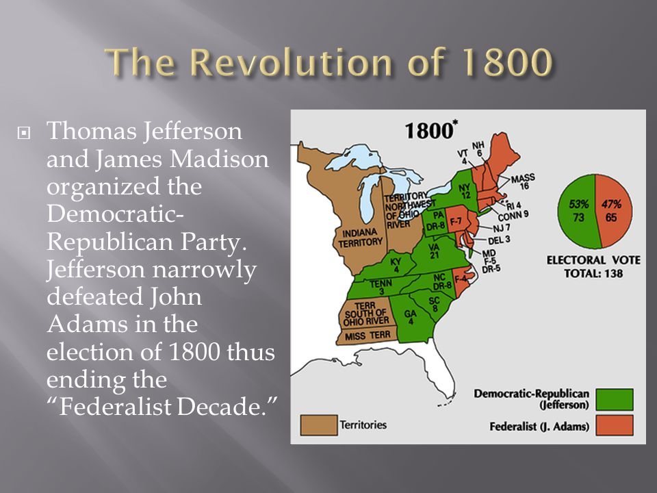  Thomas Jefferson and James Madison organized the Democratic- Republican Party.