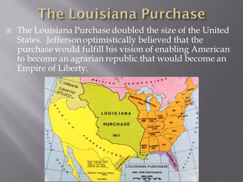  The Louisiana Purchase doubled the size of the United States.
