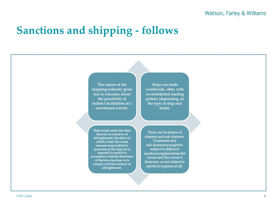 wfw.com Sanctions and shipping - follows 6 The nature of the shipping industry gives rise to concerns about the possibility of indirect facilitation of a sanctioned activity.
