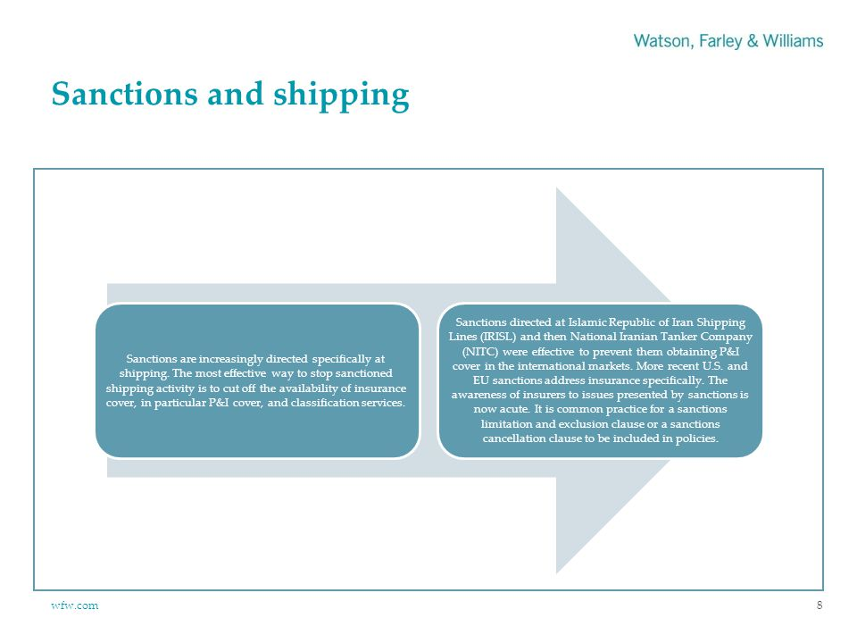 wfw.com Sanctions and shipping 8 Sanctions are increasingly directed specifically at shipping.