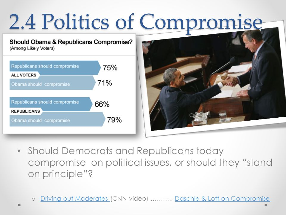 2.4 Politics of Compromise Should Democrats and Republicans today compromise on political issues, or should they stand on principle .