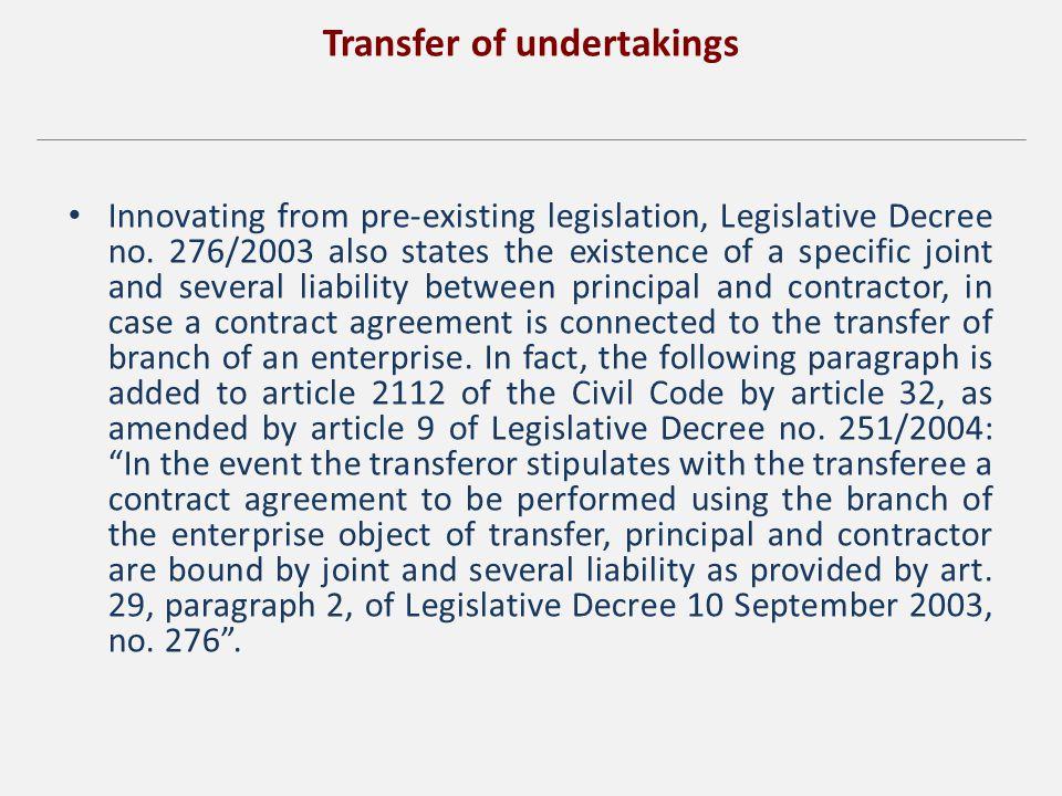 Transfer of undertakings Innovating from pre-existing legislation, Legislative Decree no.