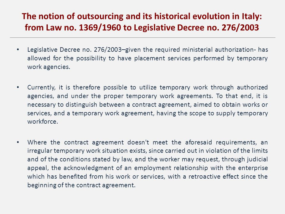 The notion of outsourcing and its historical evolution in Italy: from Law no.