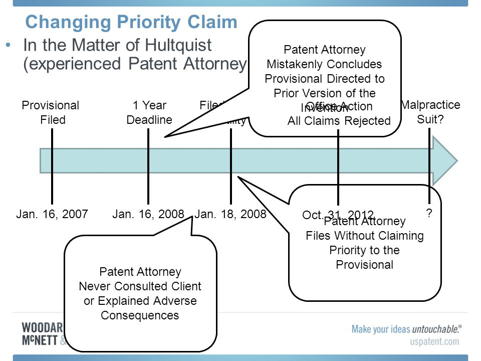 Changing Priority Claim In the Matter of Hultquist (experienced Patent Attorney) Provisional Filed Jan. 16, 2007 1 Year Deadline Jan. 16, 2008 Filed P