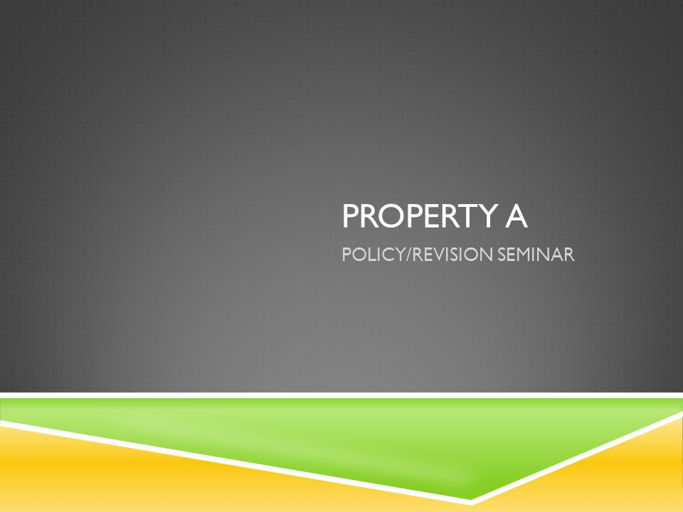 PROPERTY A POLICY/REVISION SEMINAR