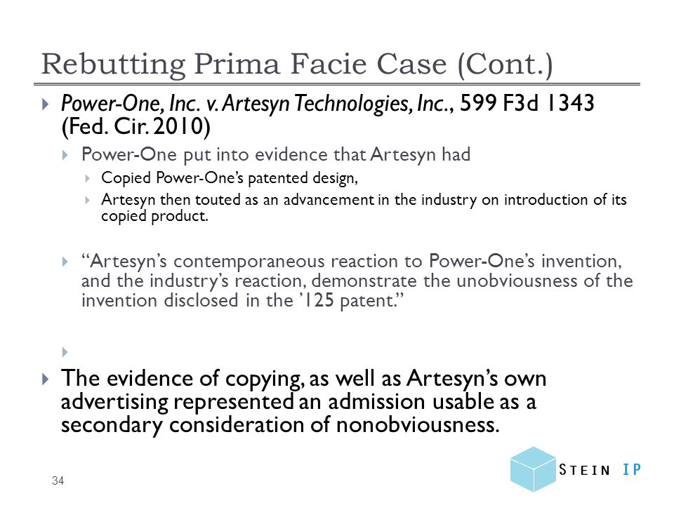 Rebutting Prima Facie Case (Cont.) 34  Power-One, Inc.
