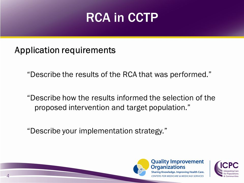 "Application requirements ""Describe the results of the RCA that was performed."" ""Describe how the results informed the selection of the proposed interv"
