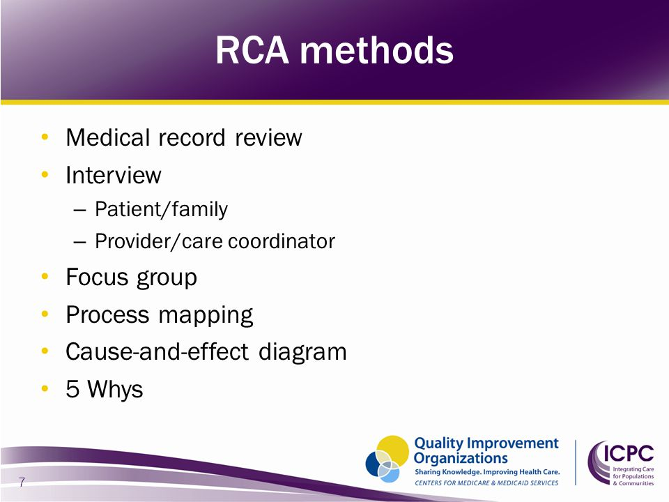 Medical record review Interview – Patient/family – Provider/care coordinator Focus group Process mapping Cause-and-effect diagram 5 Whys 7 RCA methods
