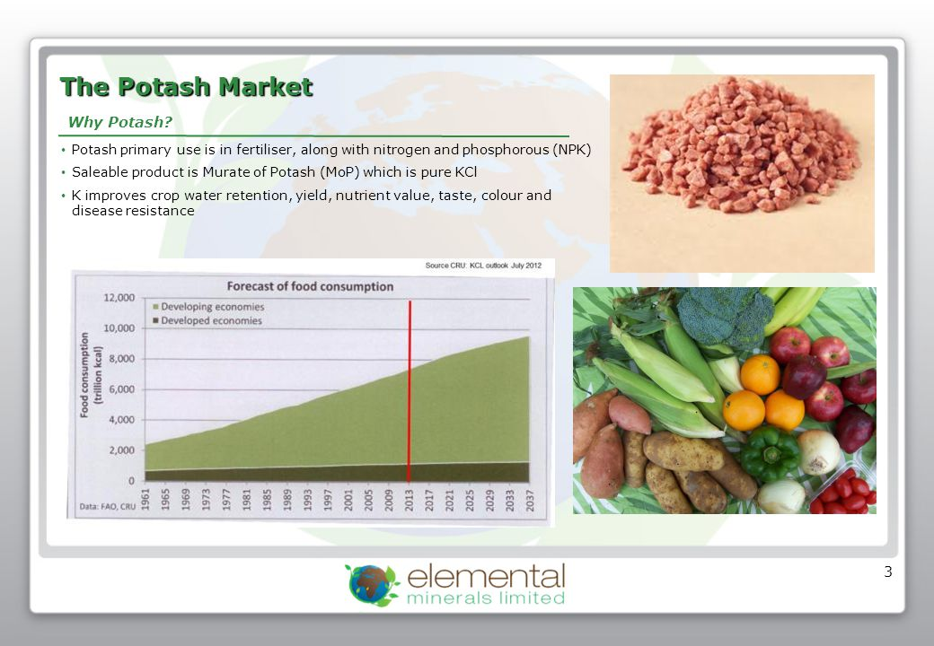 3 The Potash Market Potash primary use is in fertiliser, along with nitrogen and phosphorous (NPK) Saleable product is Murate of Potash (MoP) which is
