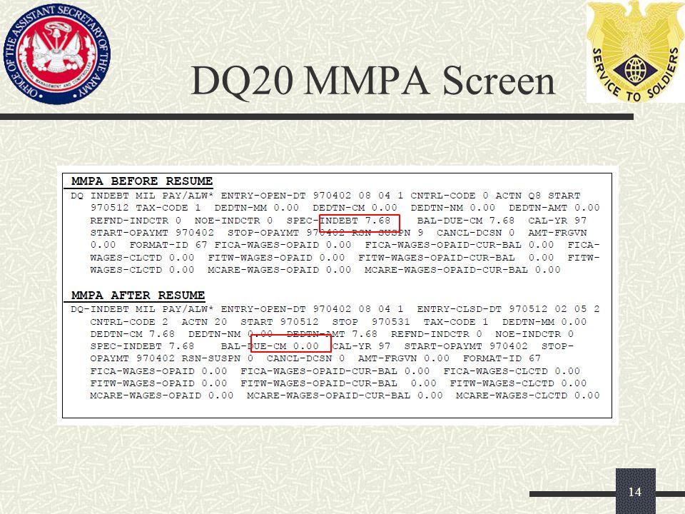 DQ20 MMPA Screen 14