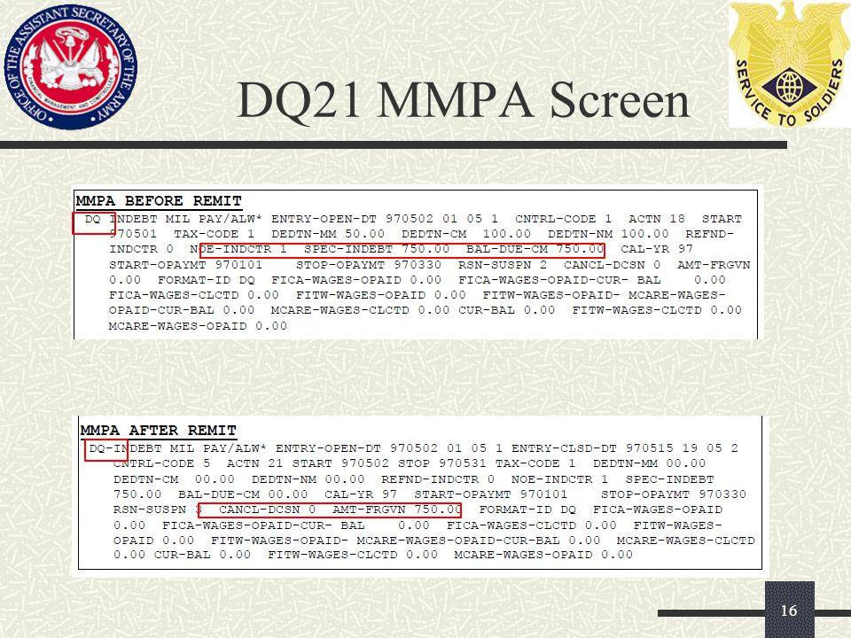 DQ21 MMPA Screen 16