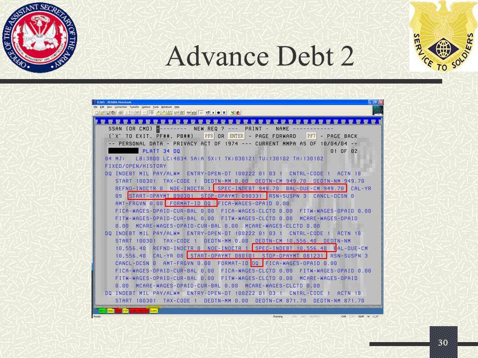 Advance Debt 2 30