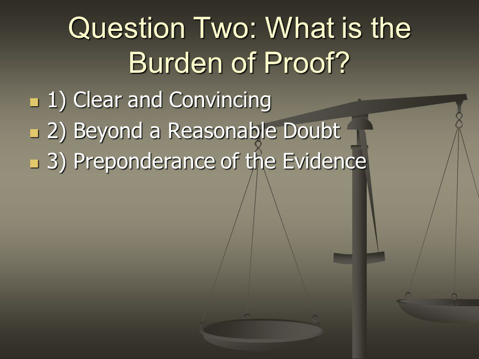 Daubert: Burden of Proof Proponent of the evidence has the burden of proof to show the evidence is relevant and reliable by the PREPONDERANCE OF THE EVIDENCE (US v.