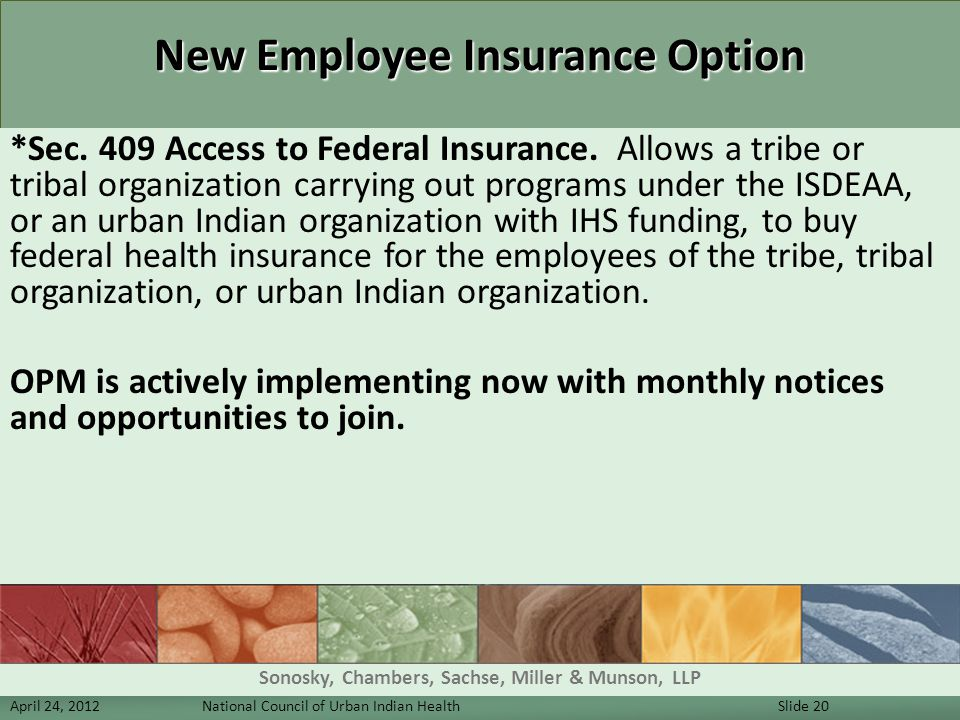 New Employee Insurance Option *Sec. 409 Access to Federal Insurance. Allows a tribe or tribal organization carrying out programs under the ISDEAA, or