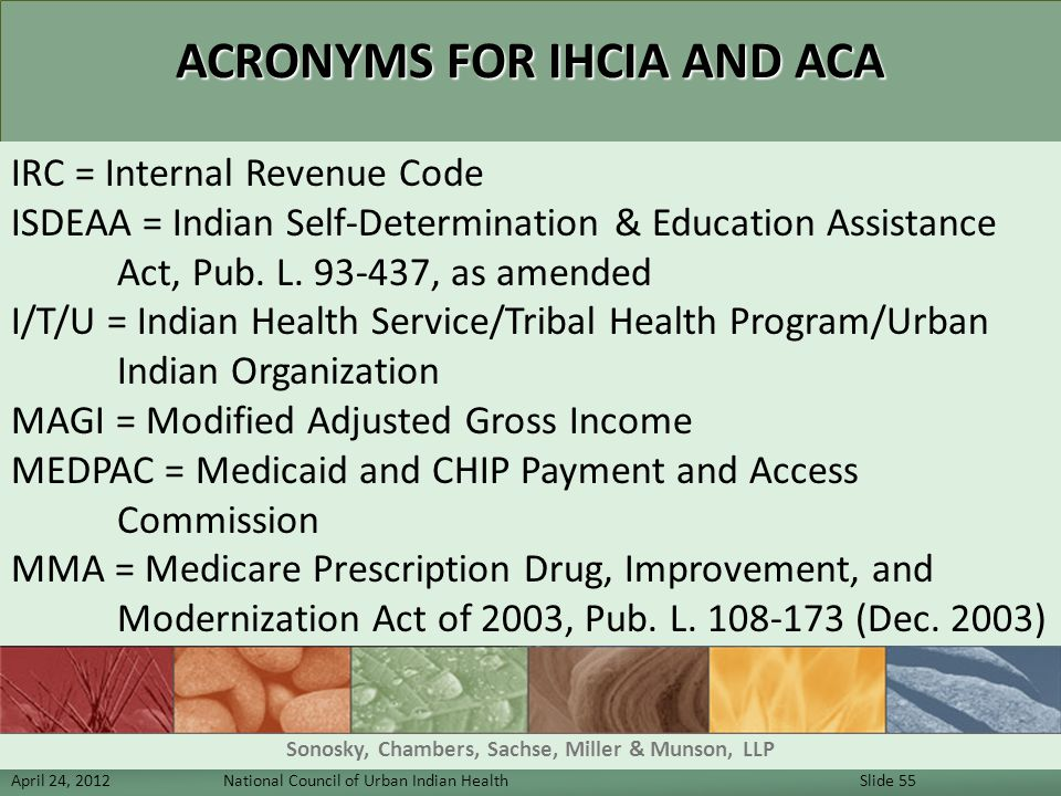 ACRONYMS FOR IHCIA AND ACA IRC = Internal Revenue Code ISDEAA = Indian Self-Determination & Education Assistance Act, Pub. L. 93-437, as amended I/T/U