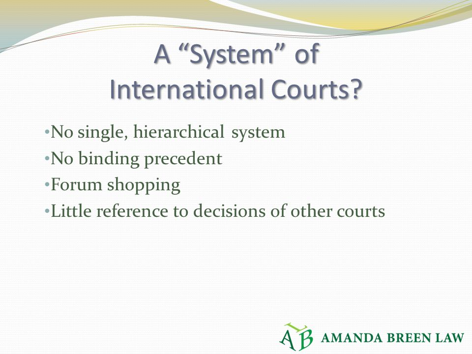 "A ""System"" of International Courts? No single, hierarchical system No binding precedent Forum shopping Little reference to decisions of other courts"