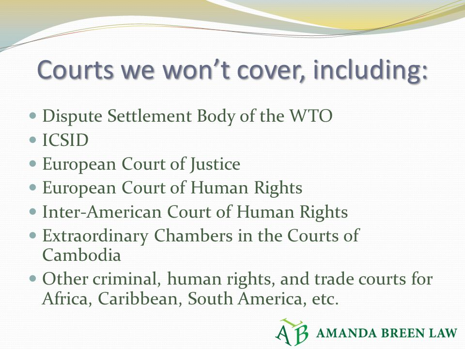 Courts we won't cover, including: Dispute Settlement Body of the WTO ICSID European Court of Justice European Court of Human Rights Inter-American Cou