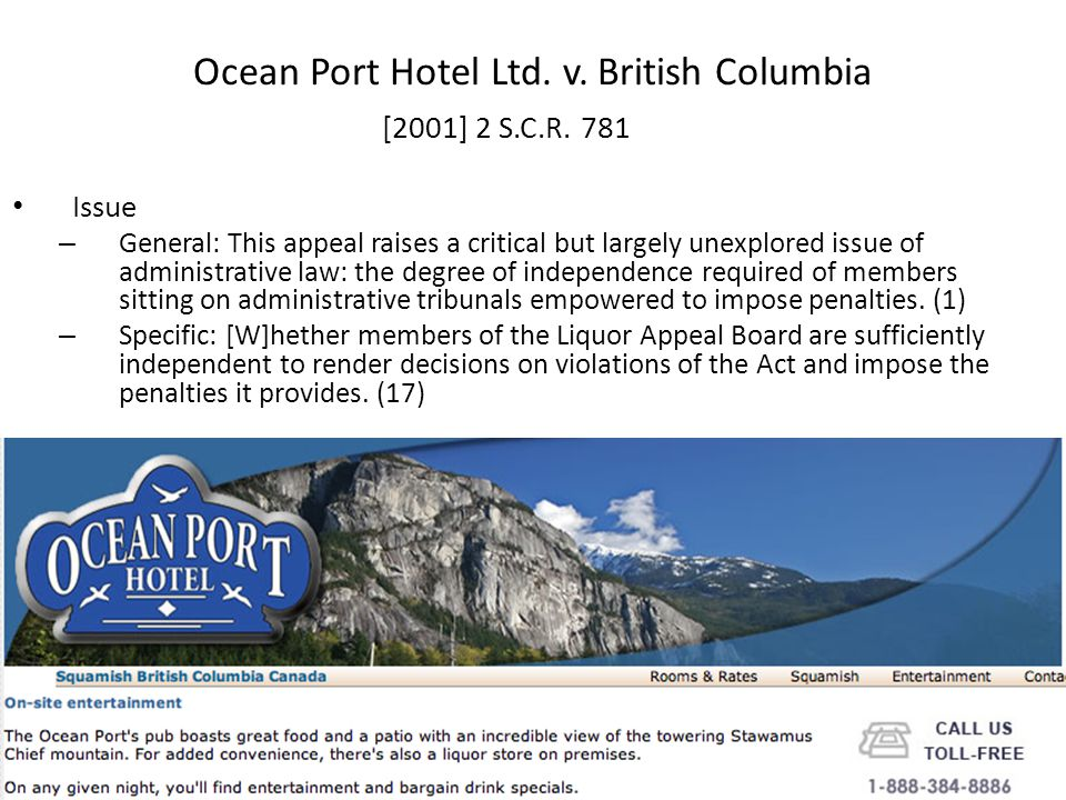 Ocean Port Hotel Ltd. v. British Columbia [2001] 2 S.C.R.