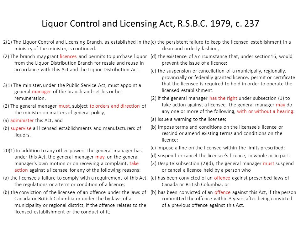Liquor Control and Licensing Act, R.S.B.C. 1979, c.