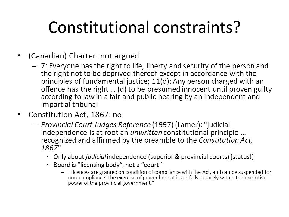 Constitutional constraints.